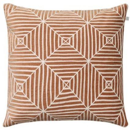Taupe Kulgam Embroidered Velvet Pillow