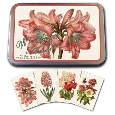 Tin with 20 postcards-Pink Flowers-Eleish Van Breems Home