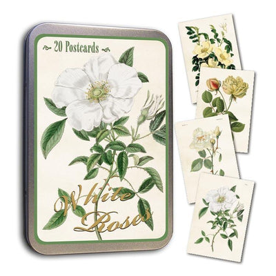 Tin with 20 postcards-White Roses-Eleish Van Breems Home