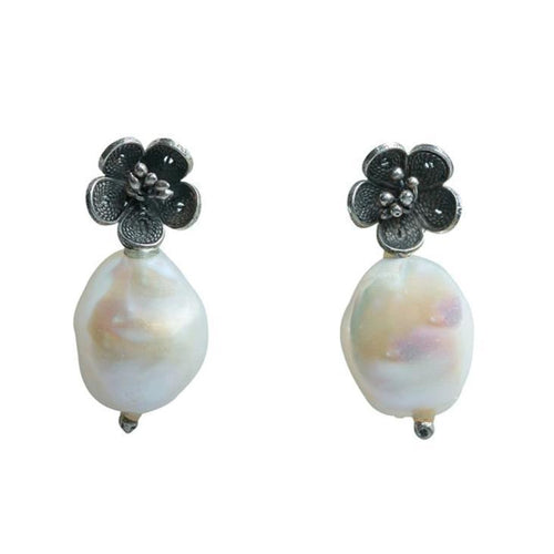 White Baroque Drop Earrings