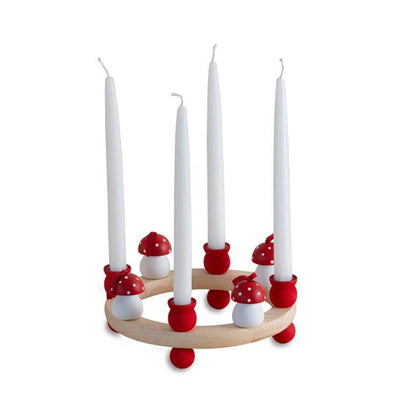 Wooden Candle Ring Centerpiece-Red-Eleish Van Breems Home