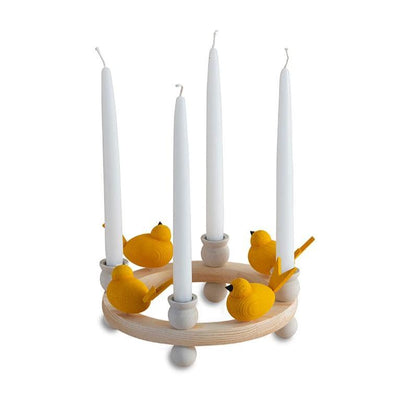 Wooden Candle Ring Centerpiece-White-Eleish Van Breems Home