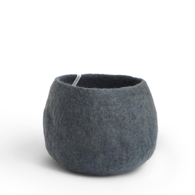 Wool Flower Pot Medium Dark Grey Eleish Van Breems Home