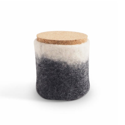 Wool Jar with Cork Lid Dark Grey Eleish Van Breems Home