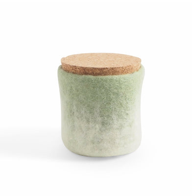 Wool Jar with Cork Lid Sage Green Eleish Van Breems Home