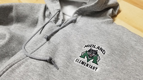 Midland Elementary Embroidered Zip Down Hoodie