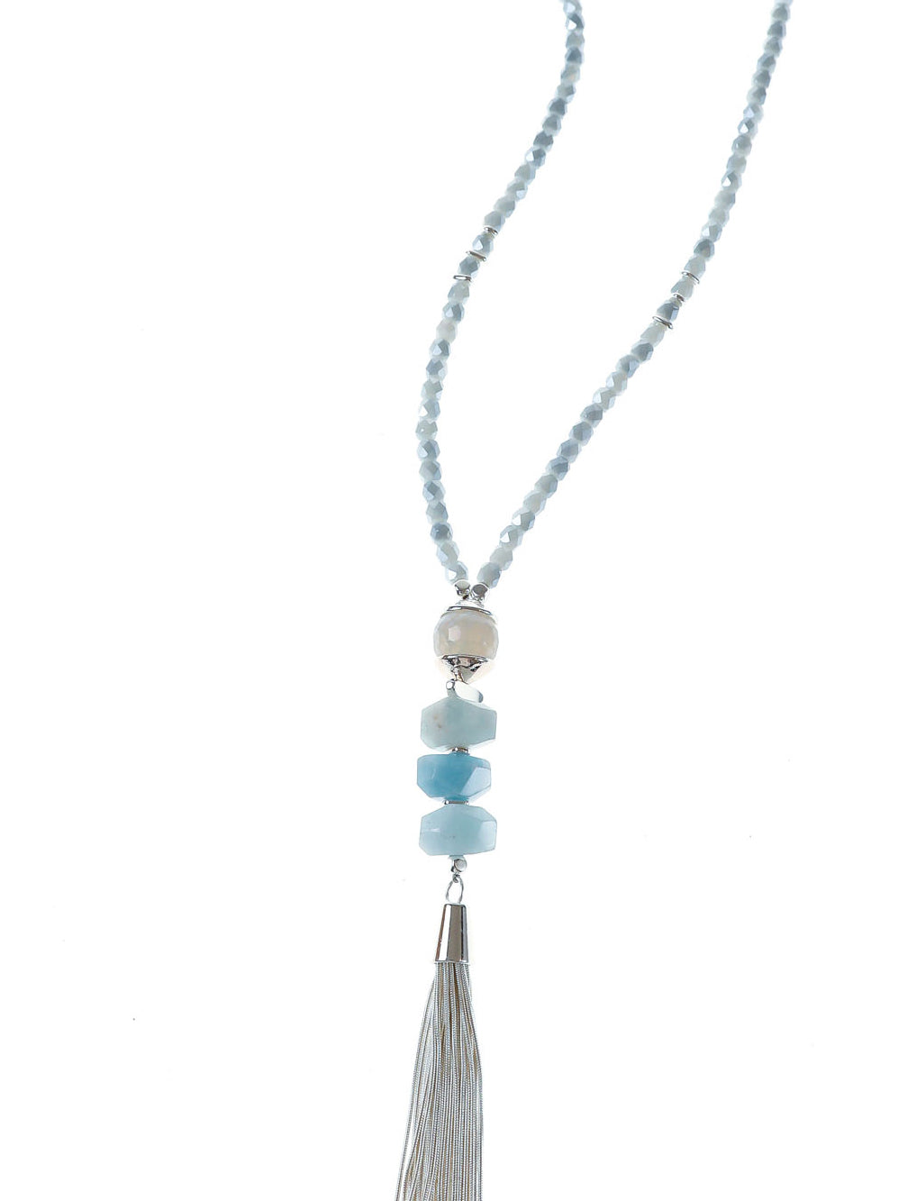 ALASKA CRYSTAL TASSEL NECKLACE - Kaia London