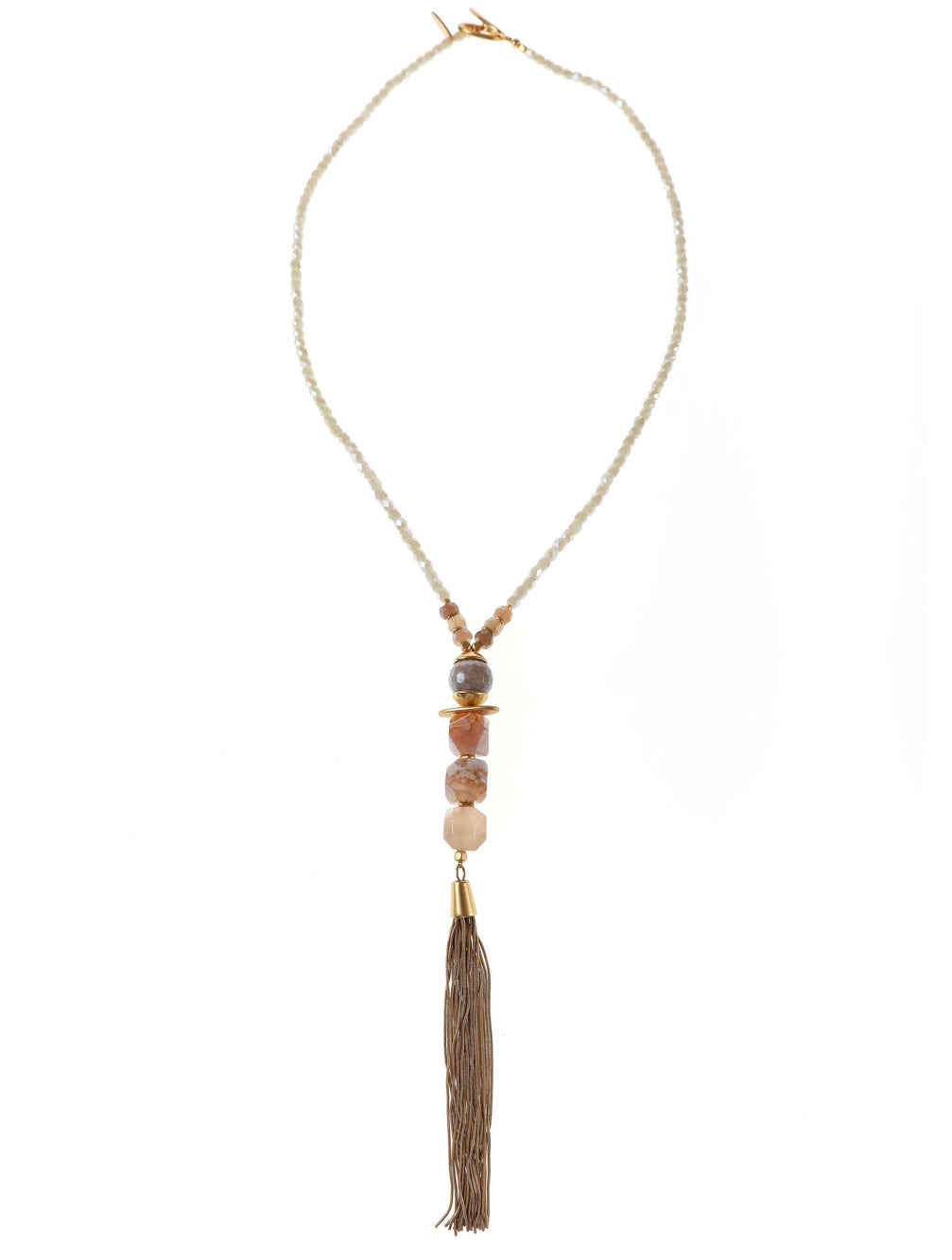 BETSY CRYSTAL TASSEL NECKLACE - Kaia London