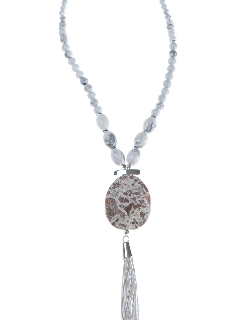 GLACIER FOSSIL TASSEL NECKLACE - Kaia London