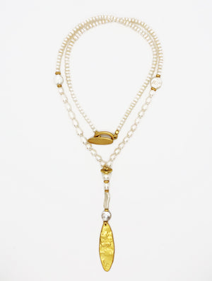 MALIBU GOLD OVAL NECKLACE - Kaia London