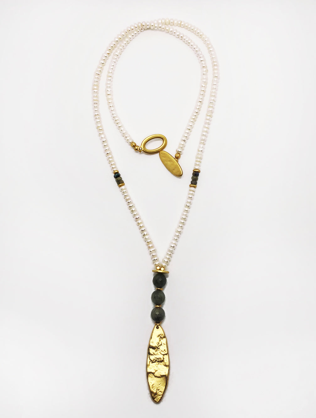 PEARL AND LABRADORITE NECKLACE - Kaia London