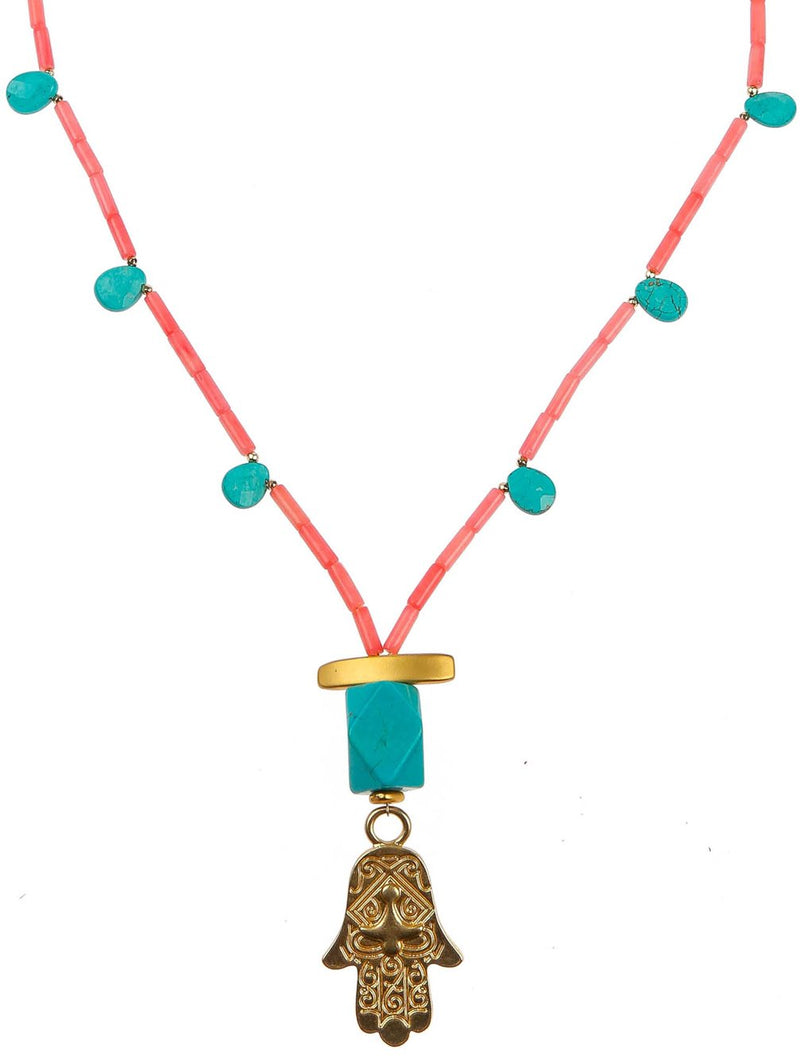 SOOKIE CORAL HAMSA NECKLACE - Kaia London