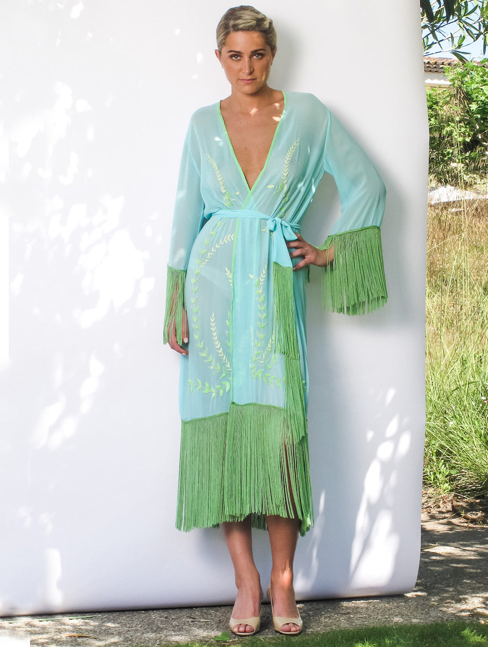 KAIA-LONDON-arjun-athena-robe-silk-resortwear-beachwear-tassel-embroidered-luxury-long kimono-Tashia