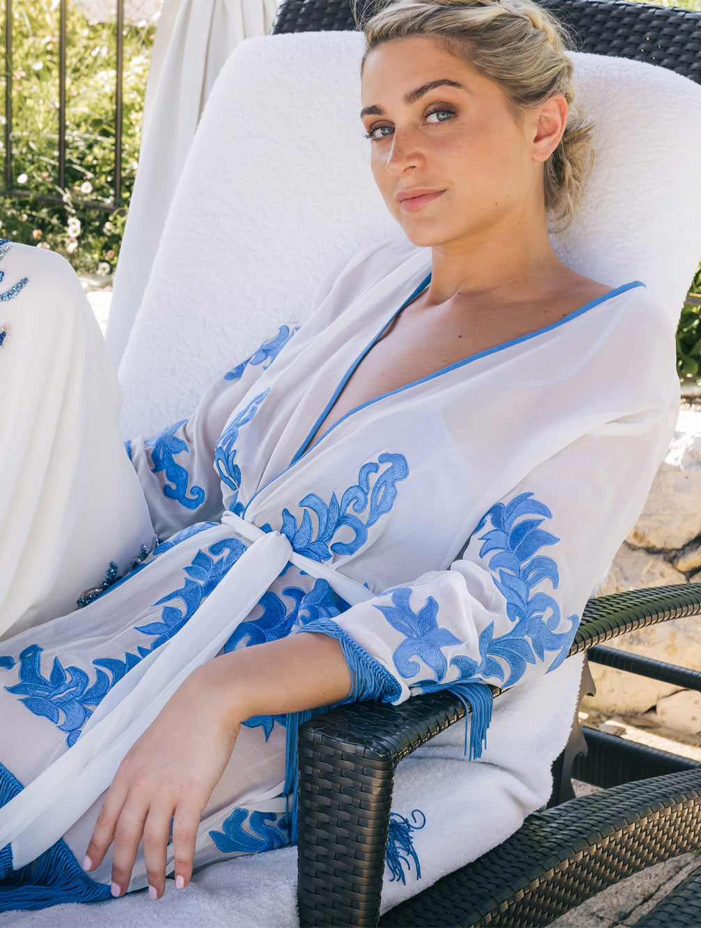 KAIA-LONDON-arjun-ocean-robe-silk-resortwear-beachwear-tassel-embroidered-luxury-short kimono-Tashia