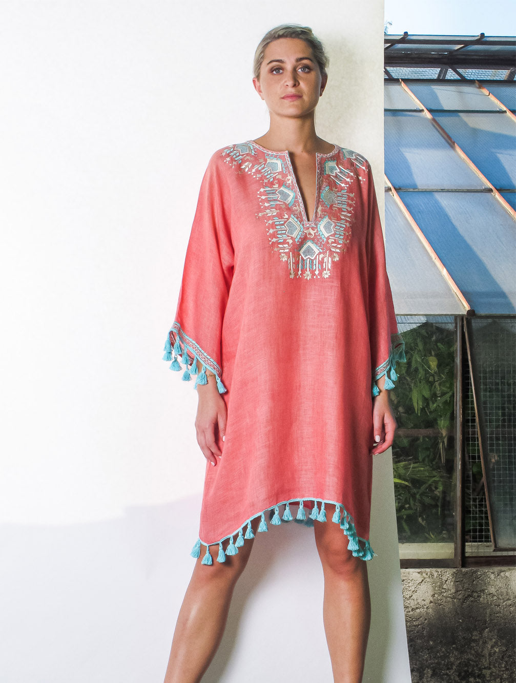 KAIA-LONDON-bianca-ikat-linen-resortwear-beachwear-embroidered-tassel-luxury-short-kaftan-dress-Tashia