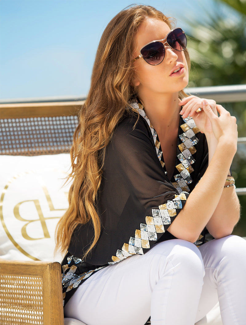 MANHATTAN KAFTAN TOP - Kaia London