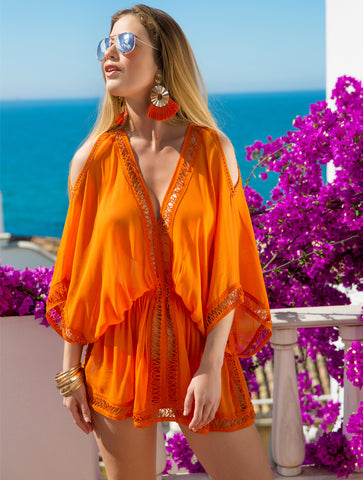 Lindsey Brown Luxe Resortwear Mykonos Orange SIlk Kaftan Kaia London Beachwear