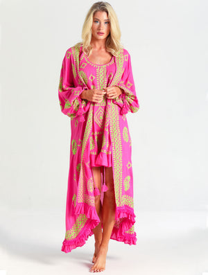 CARLOTTA NEON PINK ROBE - Kaia London