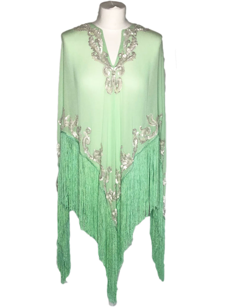 PALOMA SILK FRINGED PONCHO - Kaia London