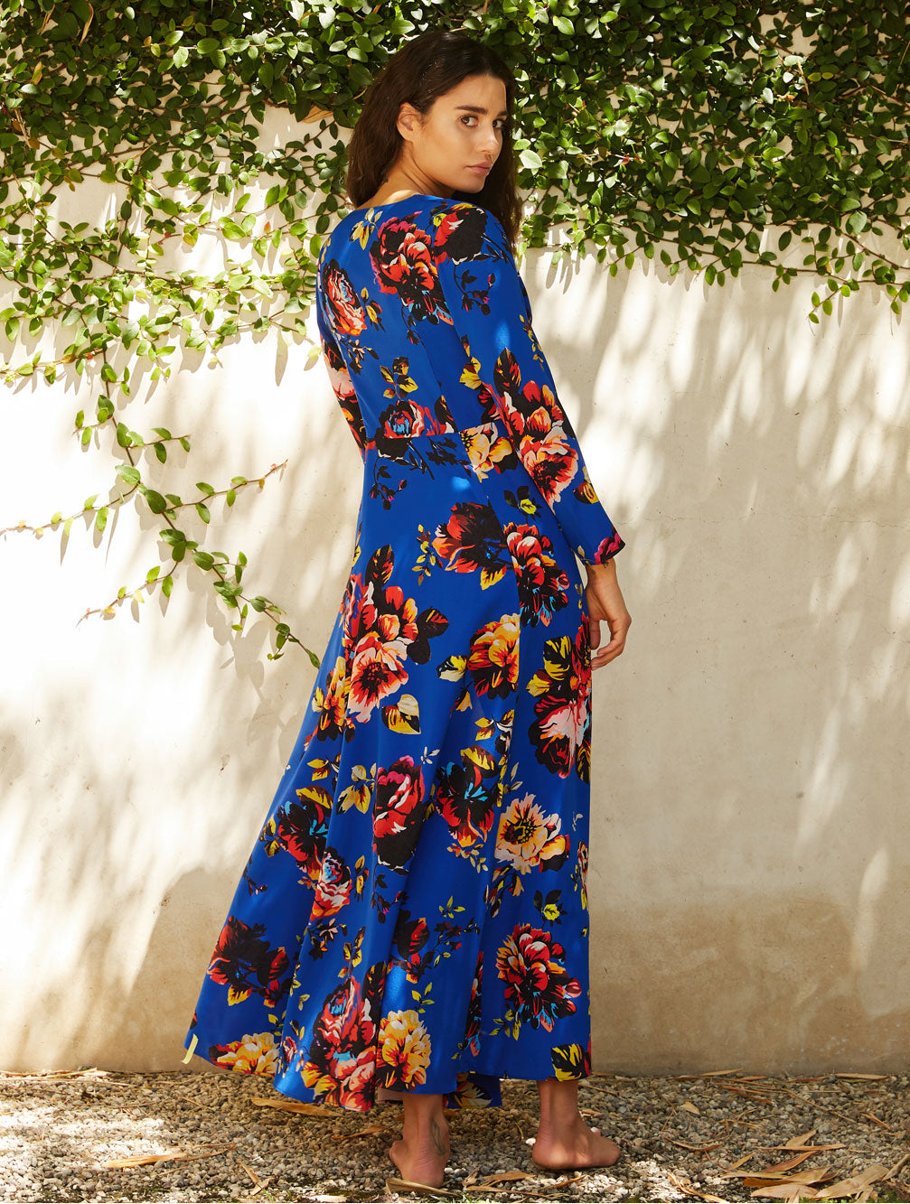 BLUE PEONY MAXI ROBE - Kaia London