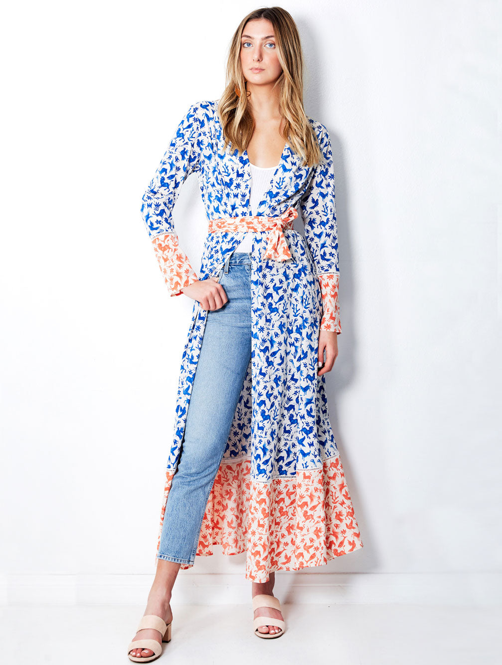 BLUE MEXICAN MAXI ROBE - Kaia London