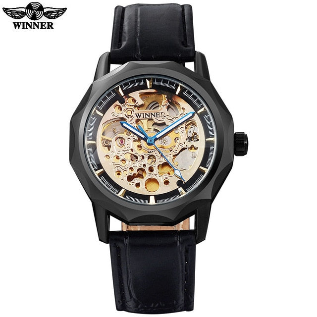 Whirlwind Automatic Self-Wind Leather Watch