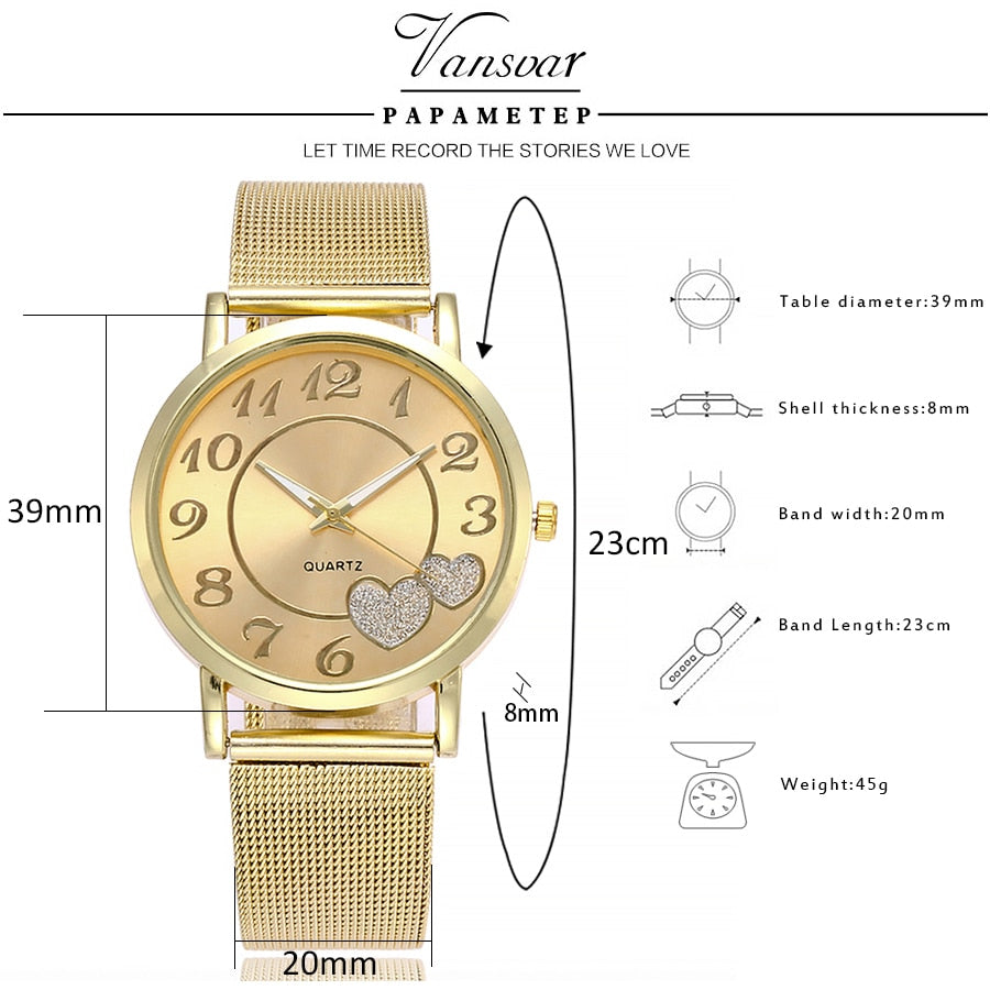 Heart Dial Mesh Watch