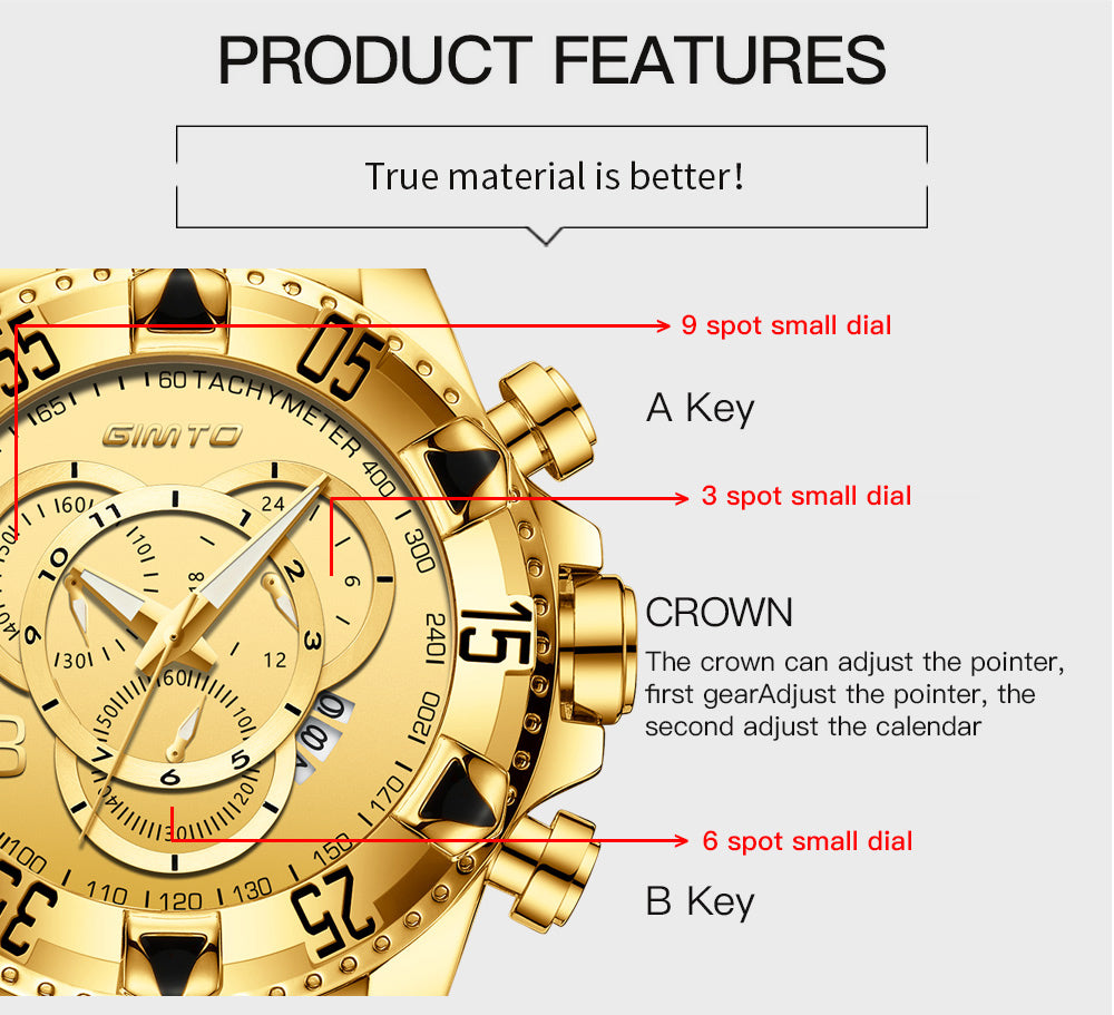Phantom Gold Waterproof Watch