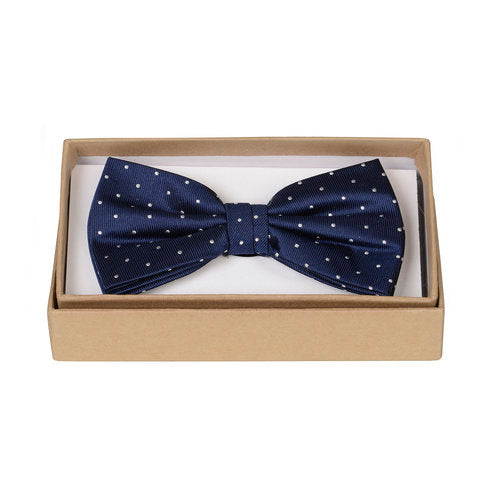 Navy and White Polka Bow