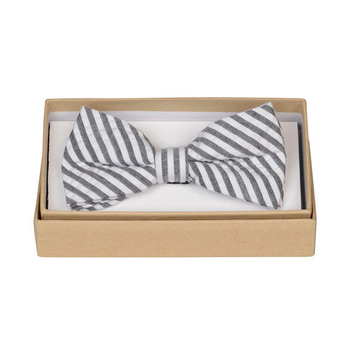 Charcoal Stripe Bow