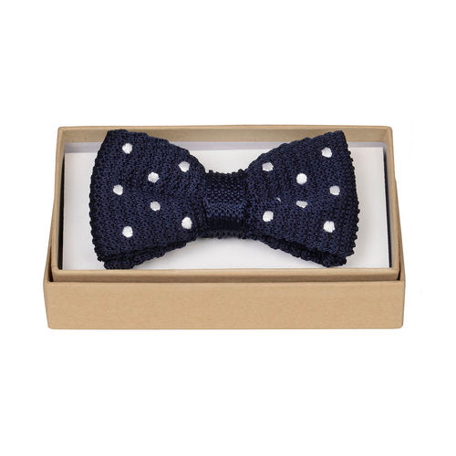 Navy Knitted Polka Bow