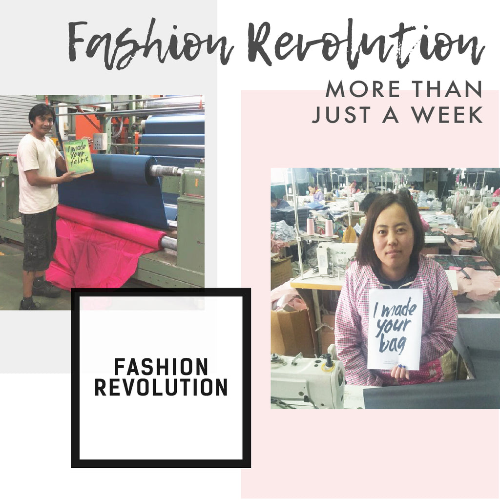 Fashion revolution graphic people holding we made your bag and fabric poster