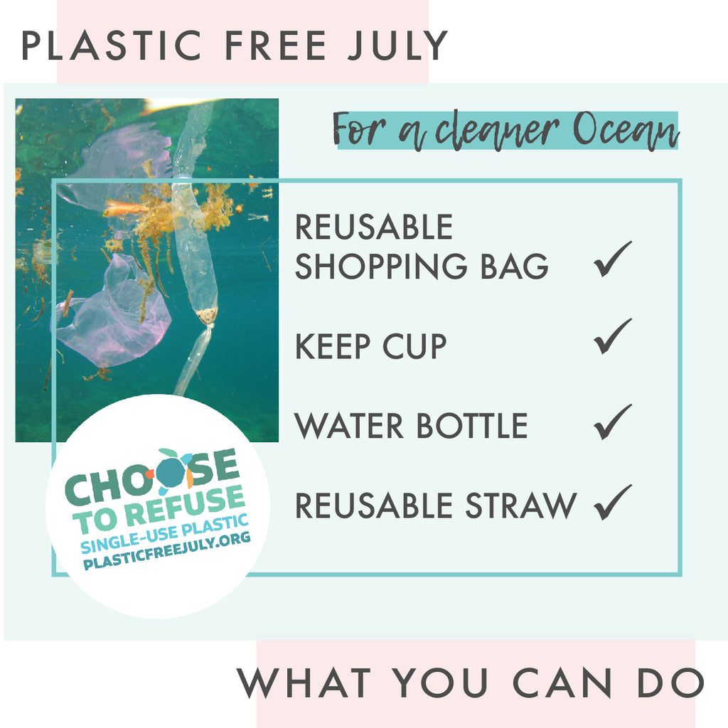 Plastic pollution in ocean and plastic free July badge