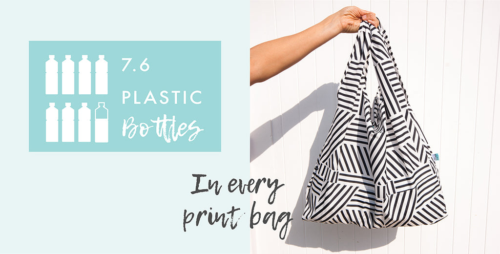 Black and white graphic print recycled foldable tote bag and plastic bottles