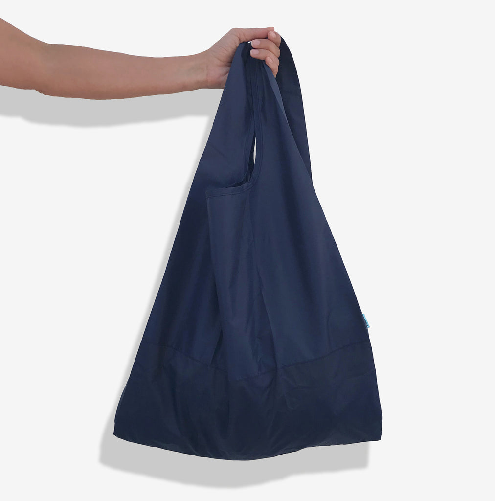 Econyl navy blue foldable sustainable tote bag