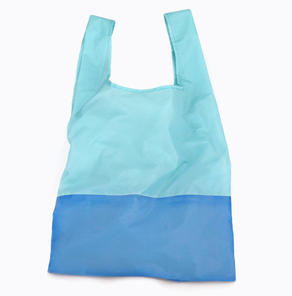 Aqua and bondi blue foldable sustainable tote bag