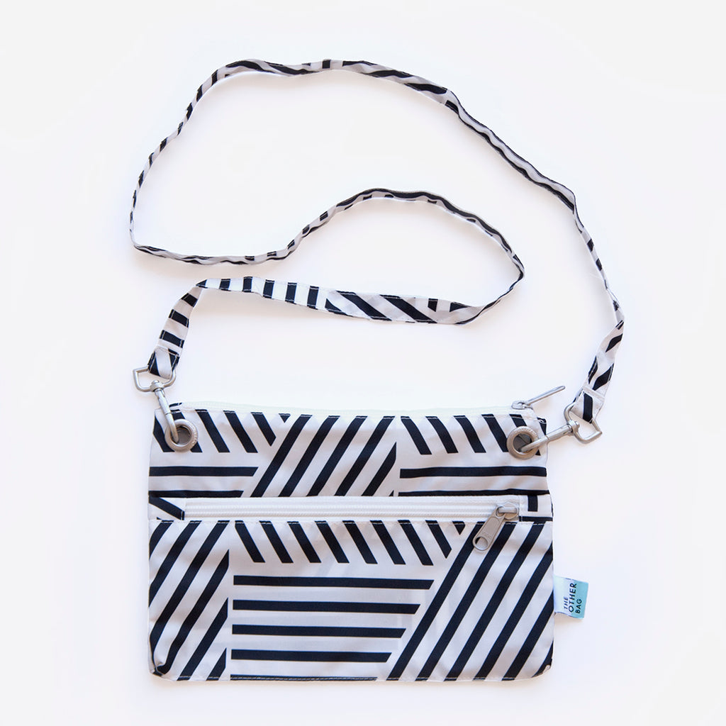 Recycled black and white print crossbody bag and tote bundle
