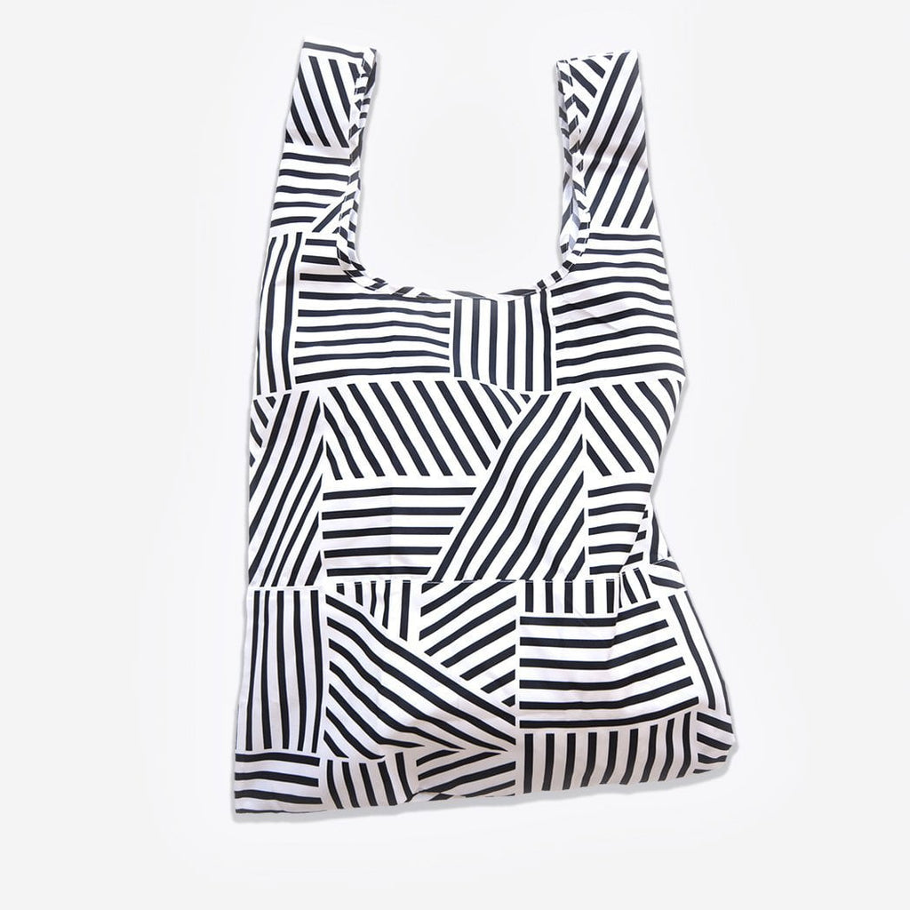 black and white eco shopping tote bag made from plastic bottles