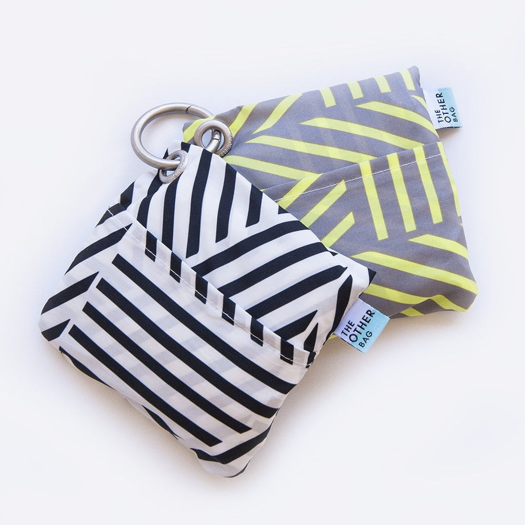 Recycled plastic bottles shopper bundle black and white and yellow and grey