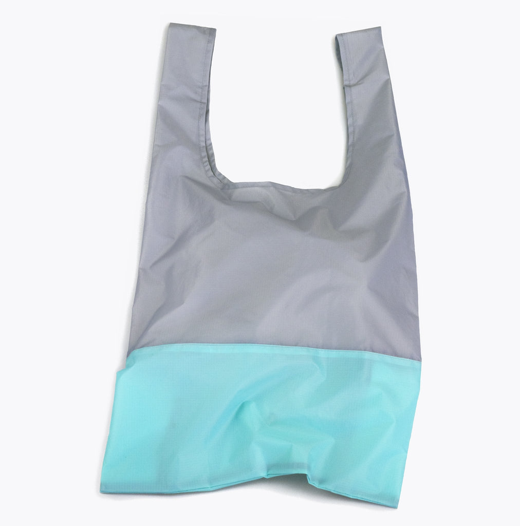 grey and aqua foldable sustainable tote bag