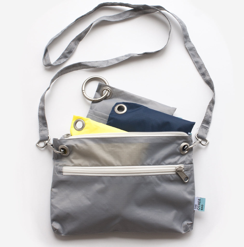 grey sustainable eco friendly zip pouch and shopping bags