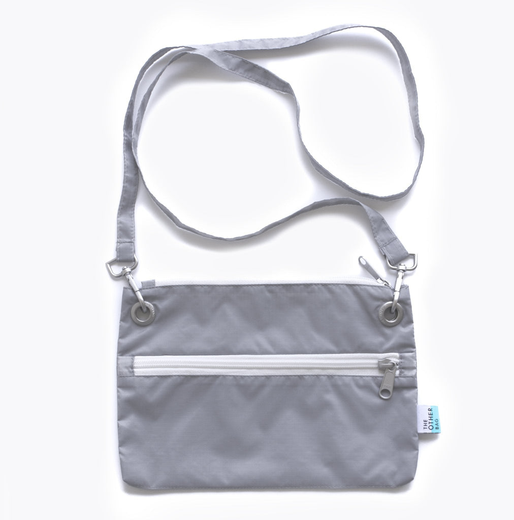 Econyl® grey crossbody bag and foldable tote bags bundle