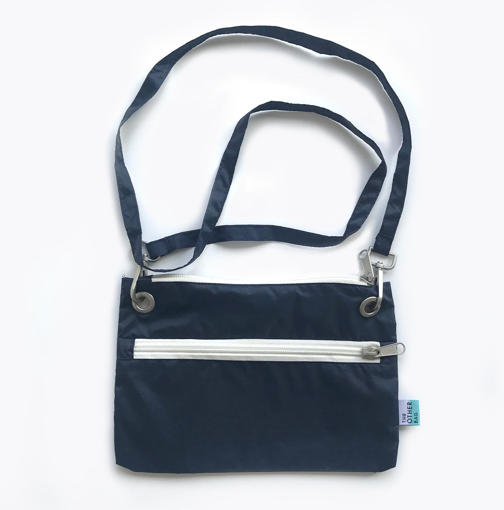 Navy Econyl crossbody bag