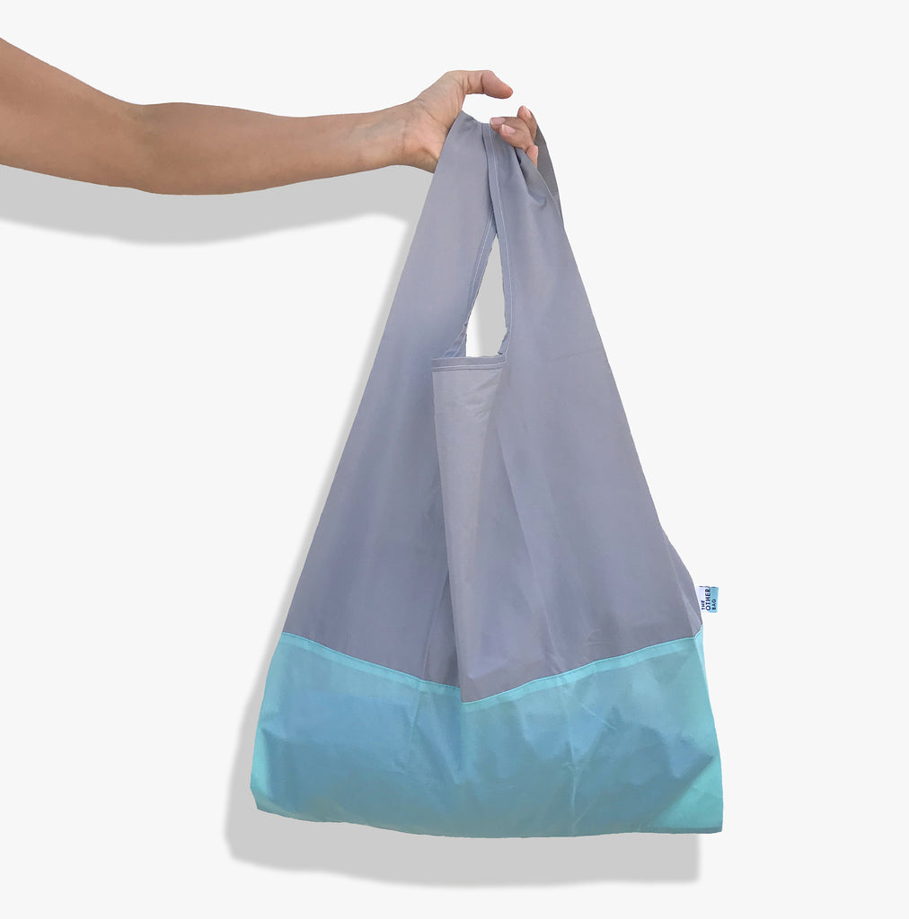 Econyl grey and aqua reusable shopping bag