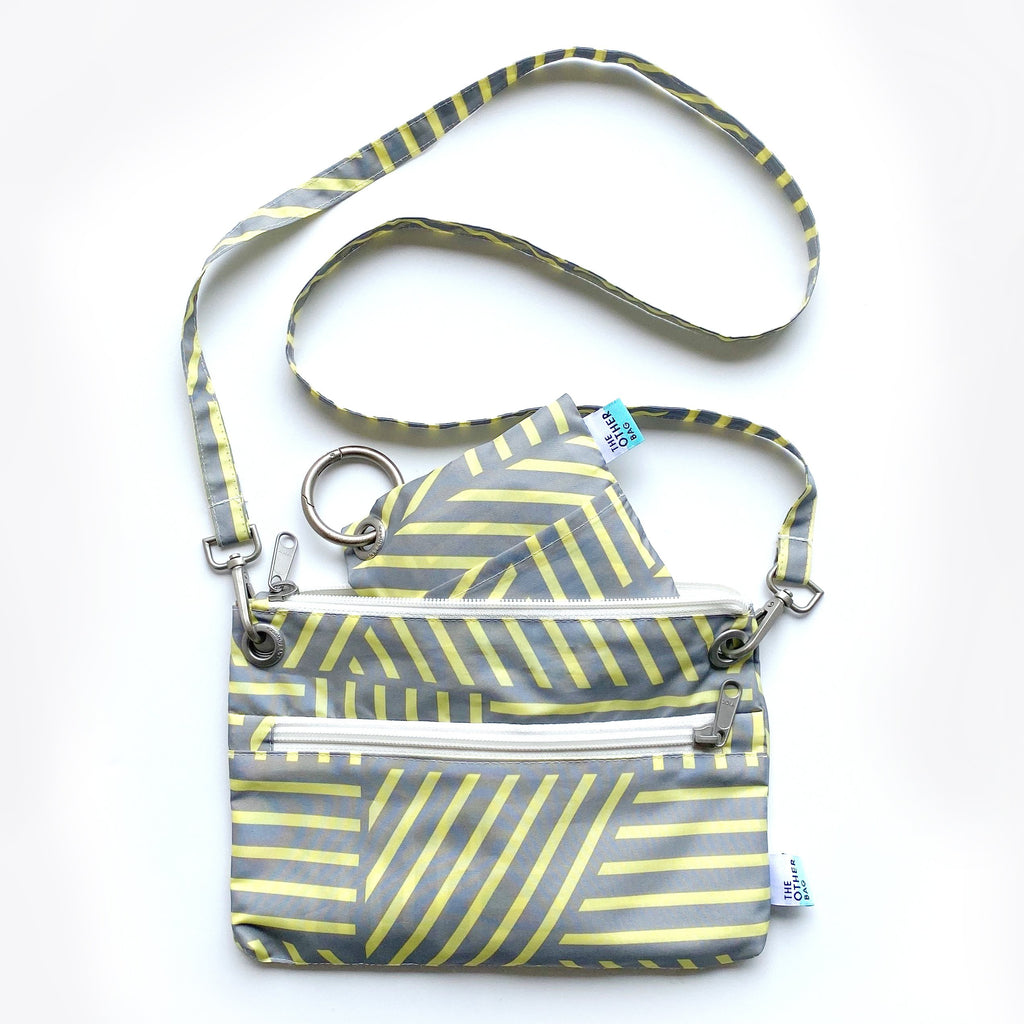 yellow and grey print bag bundle