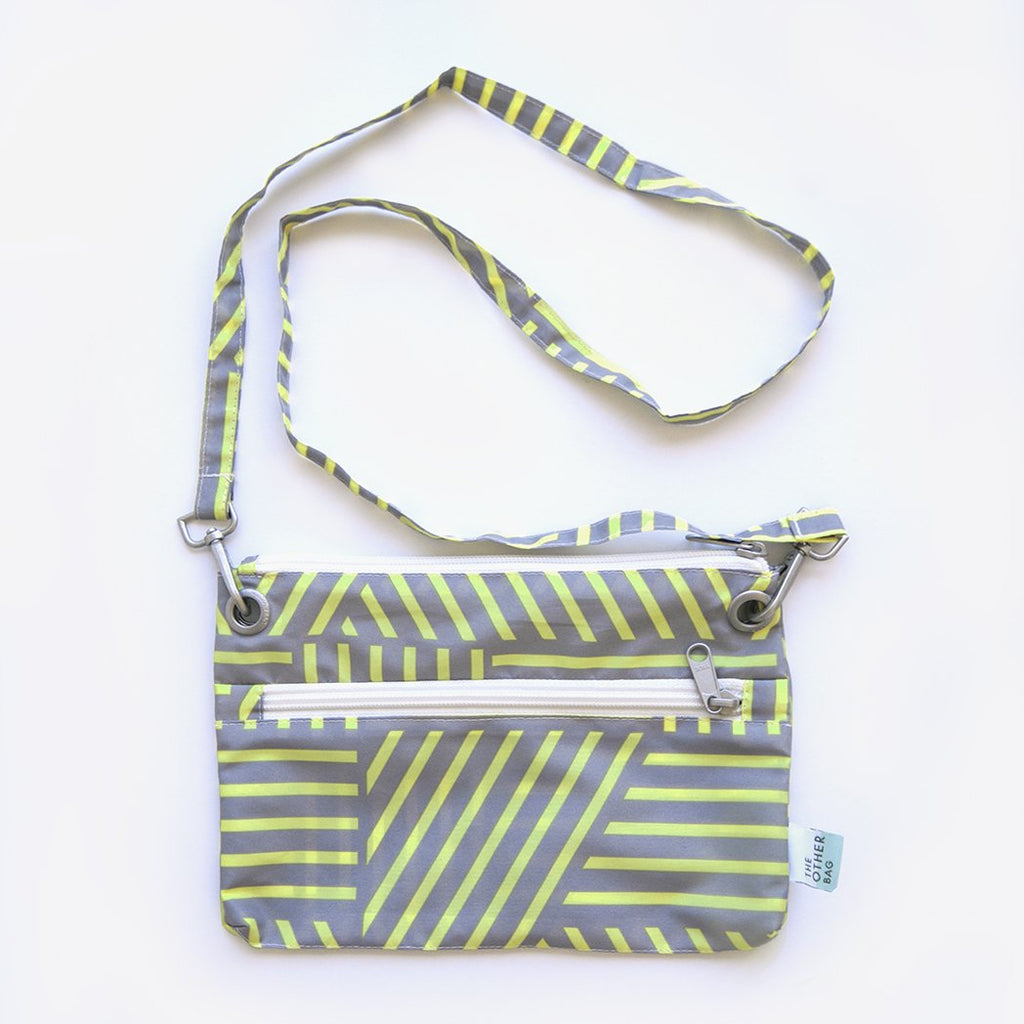 yellow and grey print recycled fabric crossbody bag