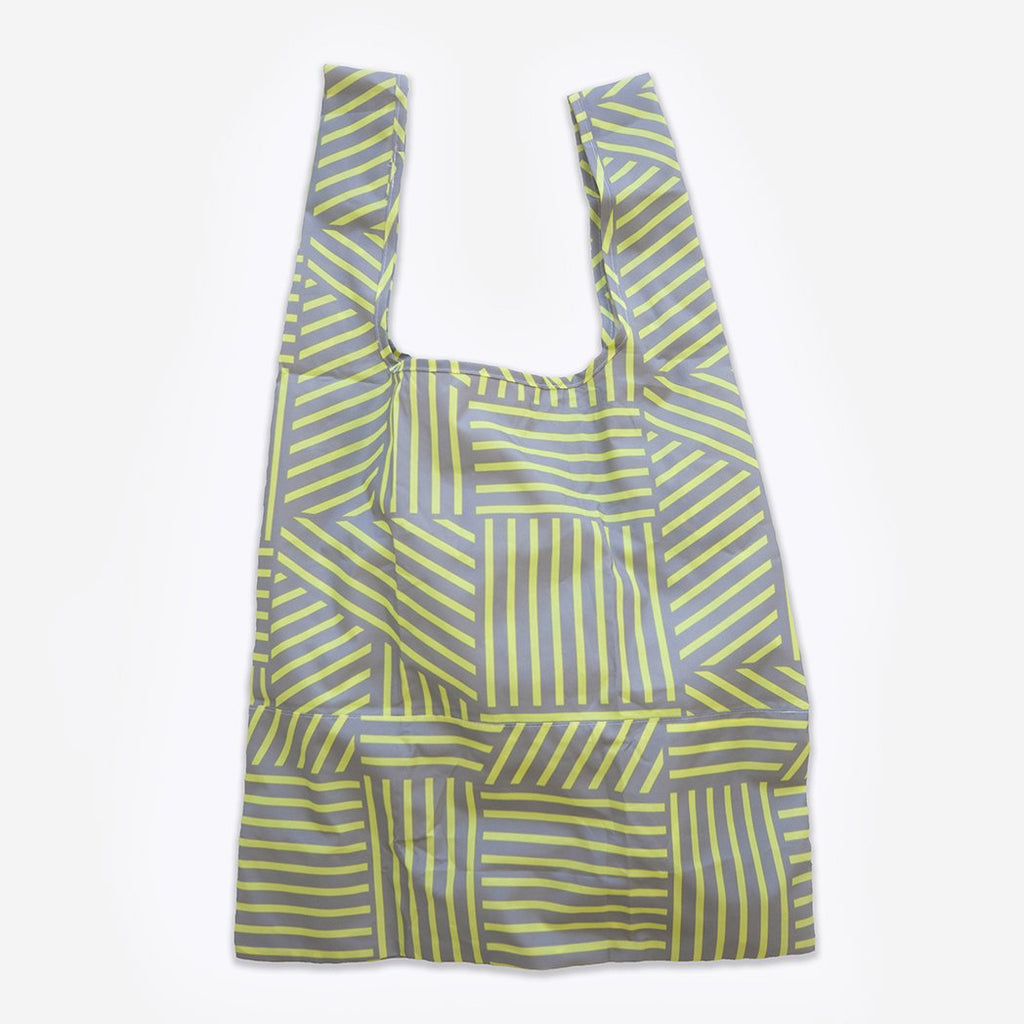 yellow and grey print recycled fabric foldable tote