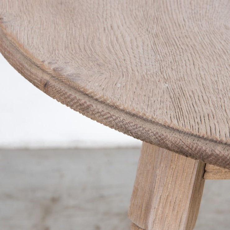 ROUND BLEACHED OAK SIDE TABLE