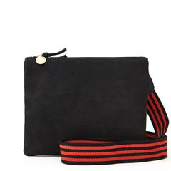 Crossbody Strap Black & Red Mini Stripe