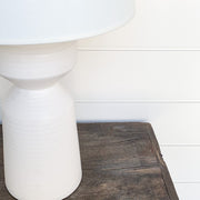 MATTE WHITE POTTERY LAMP PAIR